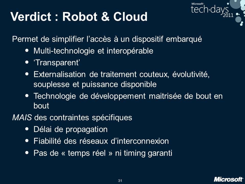 Verdict : Robot & Cloud Permet de simplifier l'accès à un dispositif embarqué. Multi-technologie et interopérable.