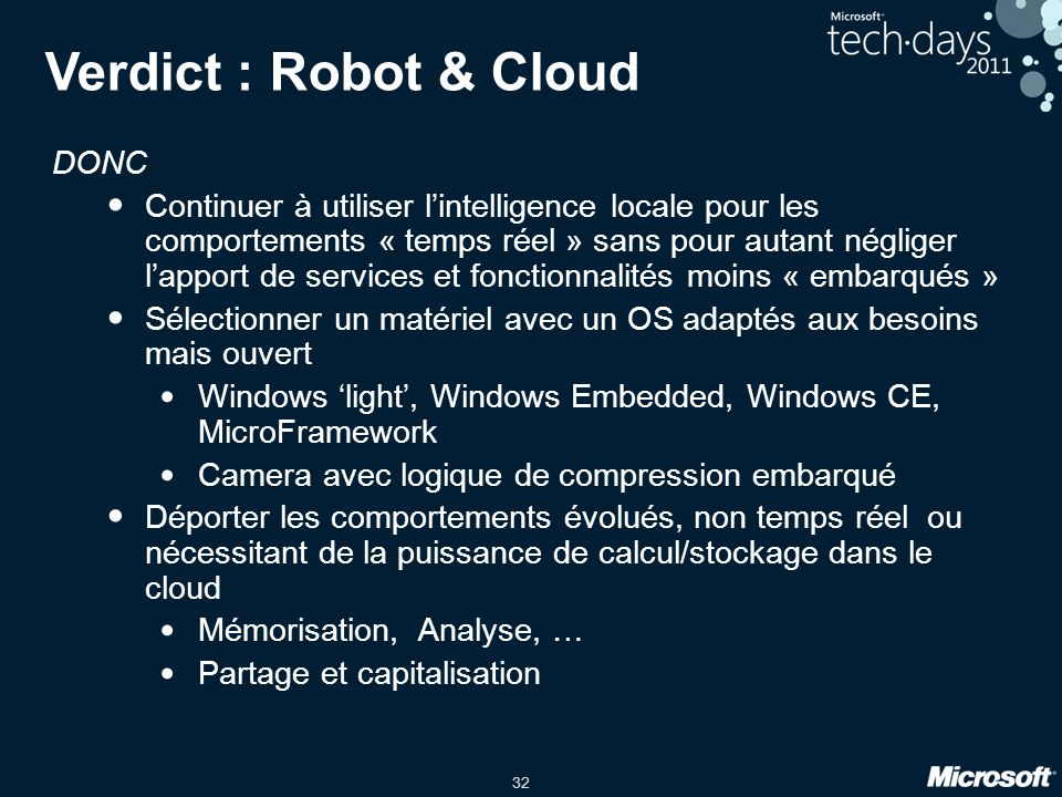 Verdict : Robot & Cloud DONC