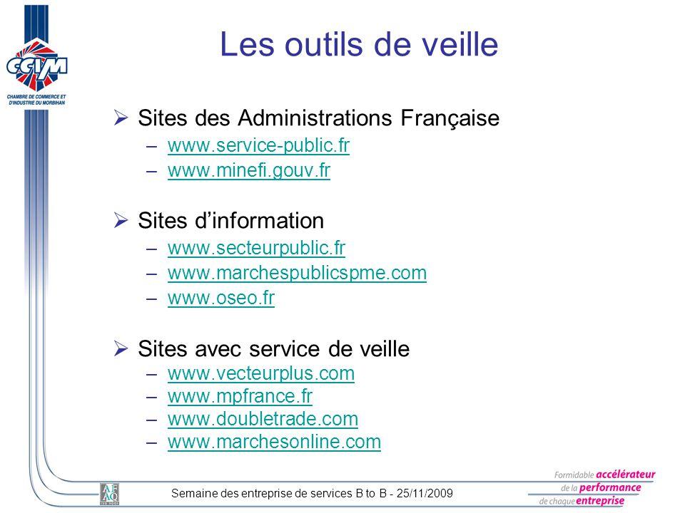 Les outils de veille Sites des Administrations Française