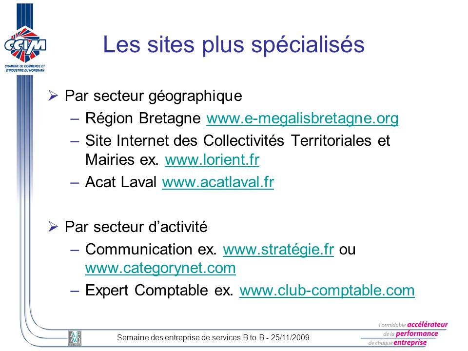 Les sites plus spécialisés