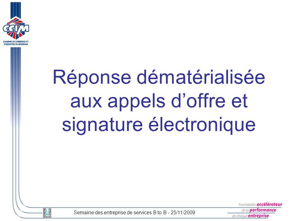 Réponse dématérialisée aux appels d'offre et signature électronique
