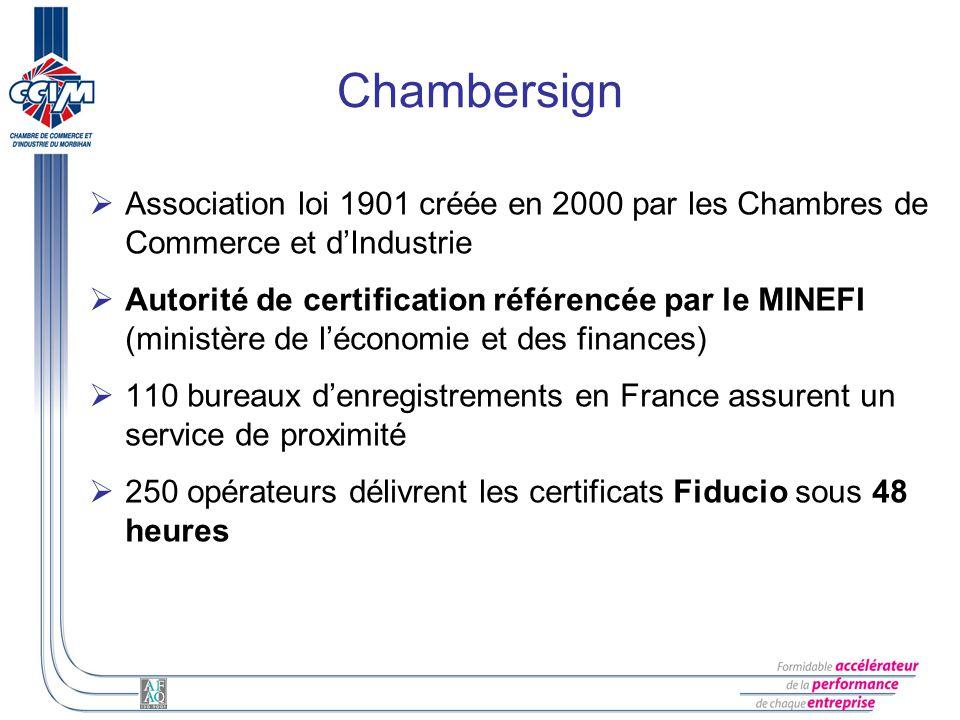 Chambersign Association loi 1901 créée en 2000 par les Chambres de Commerce et d'Industrie.
