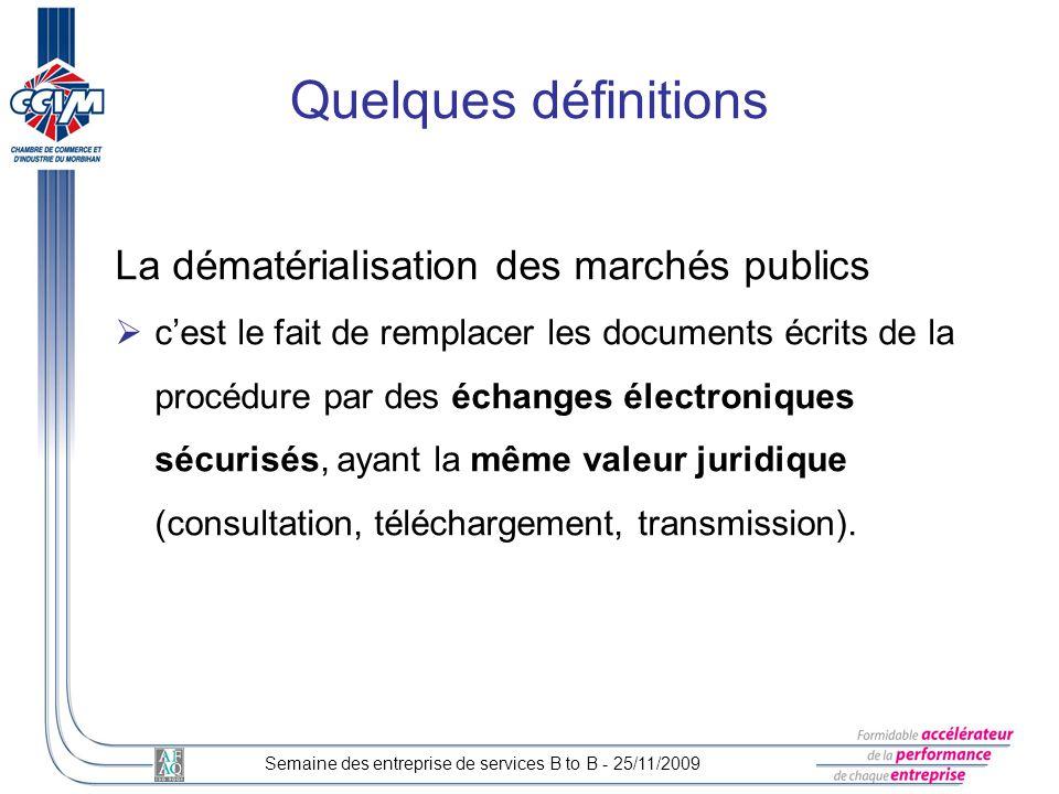 Quelques définitions La dématérialisation des marchés publics
