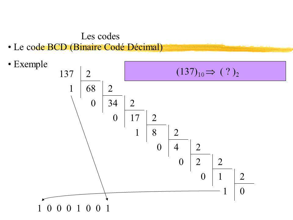 Les codes Le code BCD (Binaire Codé Décimal) Exemple. (137)10  ( )2. 137. 2. 68. 1. 2. 34.