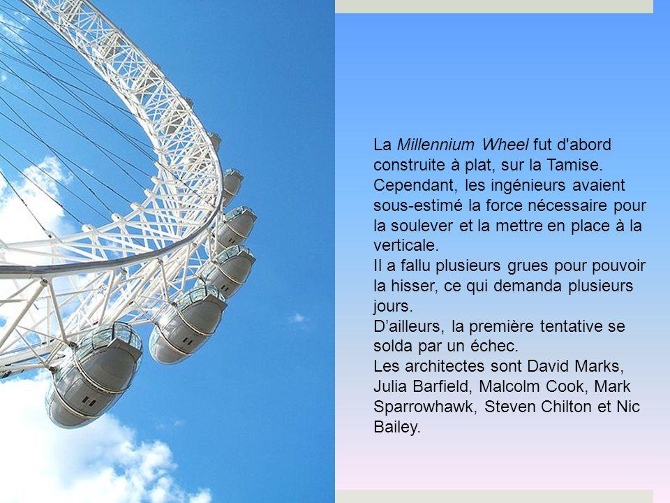 La Millennium Wheel fut d abord construite à plat, sur la Tamise.