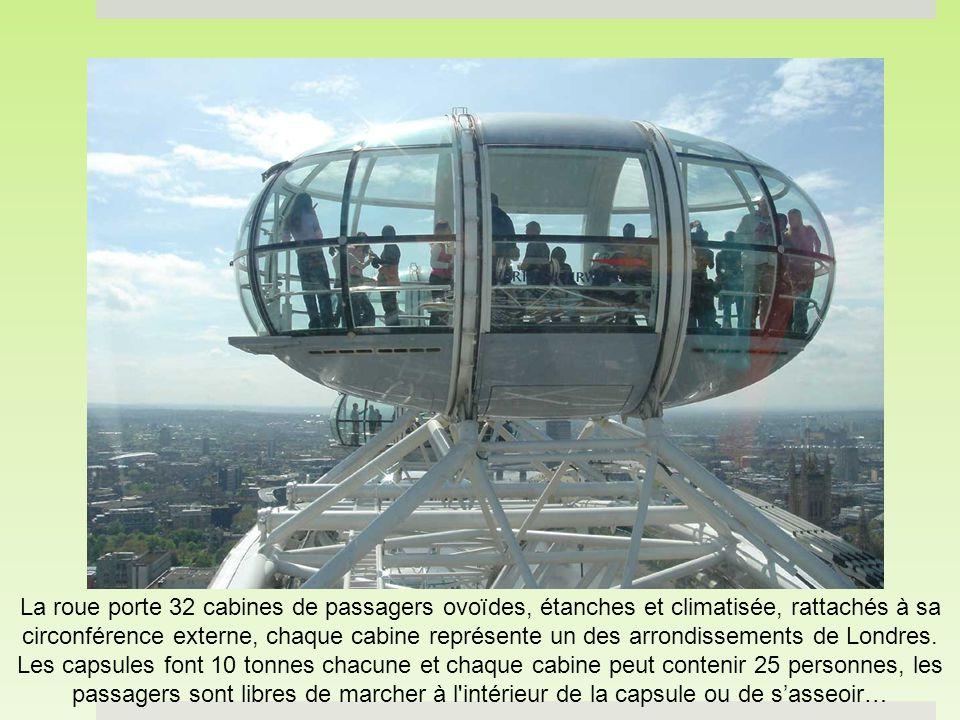 La roue porte 32 cabines de passagers ovoïdes, étanches et climatisée, rattachés à sa circonférence externe, chaque cabine représente un des arrondissements de Londres.