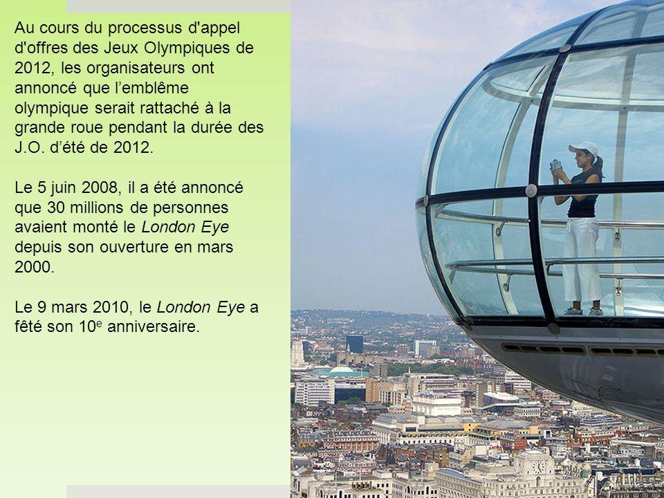 Au cours du processus d appel d offres des Jeux Olympiques de 2012, les organisateurs ont annoncé que l'emblême olympique serait rattaché à la grande roue pendant la durée des J.O. d'été de 2012.