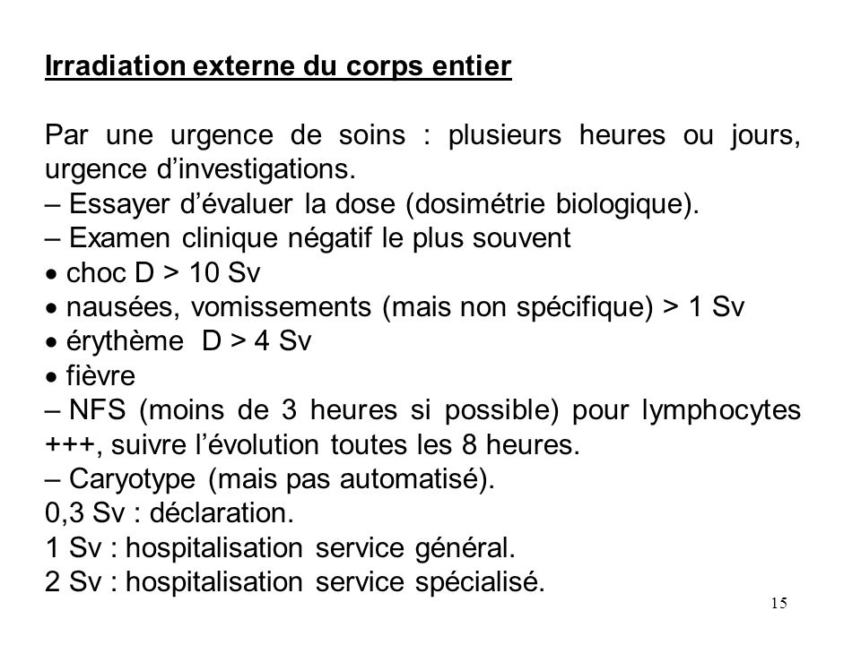 Irradiation externe du corps entier
