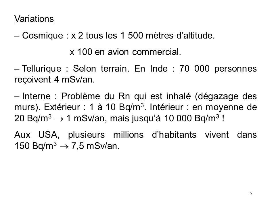 Variations Cosmique : x 2 tous les 1 500 mètres d'altitude. x 100 en avion commercial.