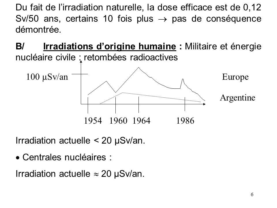 Du fait de l'irradiation naturelle, la dose efficace est de 0,12 Sv/50 ans, certains 10 fois plus  pas de conséquence démontrée.