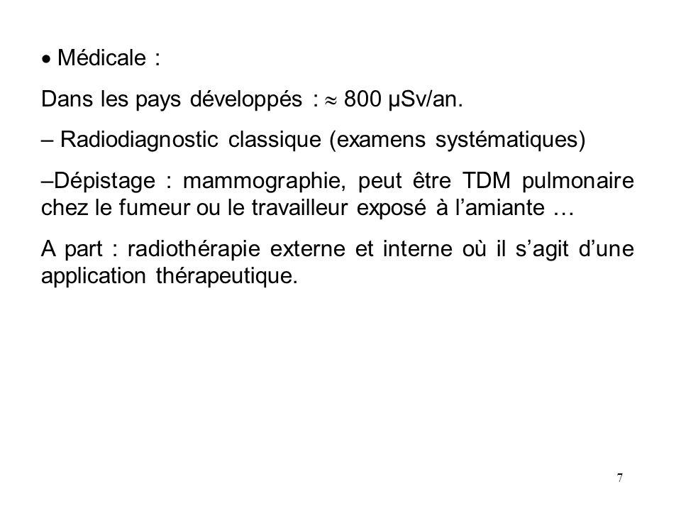 Médicale : Dans les pays développés :  800 µSv/an. Radiodiagnostic classique (examens systématiques)