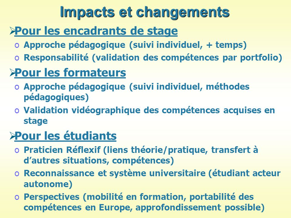 Impacts et changements