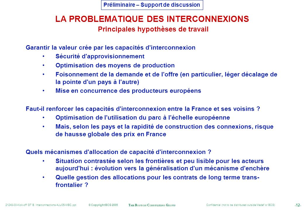 LA PROBLEMATIQUE DES INTERCONNEXIONS Principales hypothèses de travail
