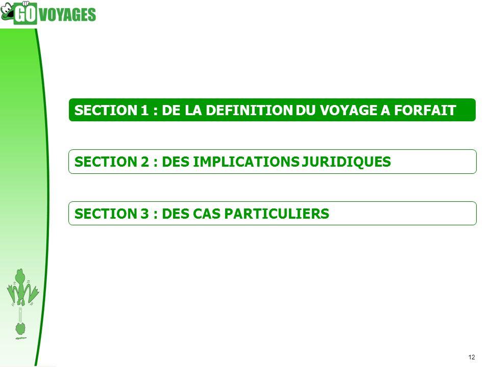 SECTION 1 : DE LA DEFINITION DU VOYAGE A FORFAIT