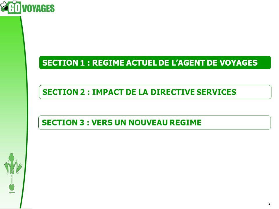 SECTION 1 : REGIME ACTUEL DE L'AGENT DE VOYAGES