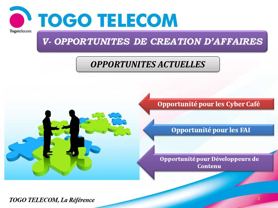 V- OPPORTUNITES DE CREATION D'AFFAIRES