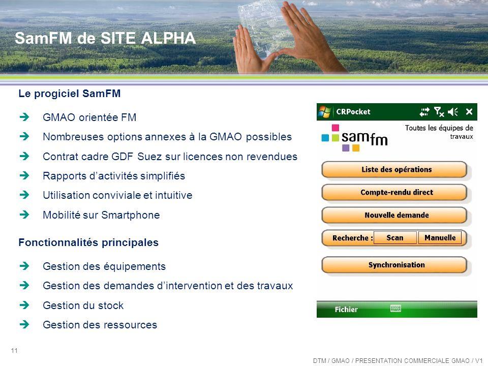 SamFM de SITE ALPHA Le progiciel SamFM GMAO orientée FM