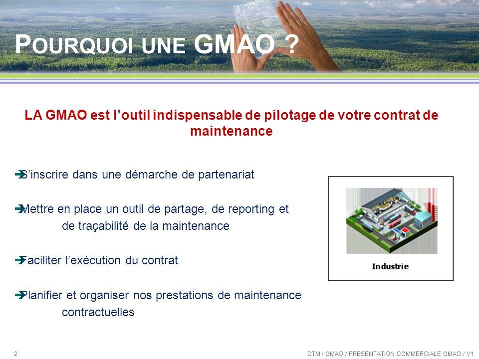 Pourquoi une GMAO LA GMAO est l'outil indispensable de pilotage de votre contrat de maintenance.