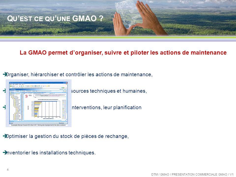 Qu'est ce qu'une GMAO La GMAO permet d'organiser, suivre et piloter les actions de maintenance.