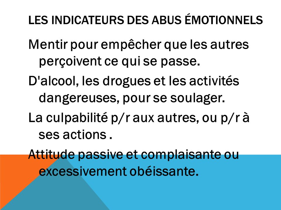 Les Indicateurs des abus émotionnels