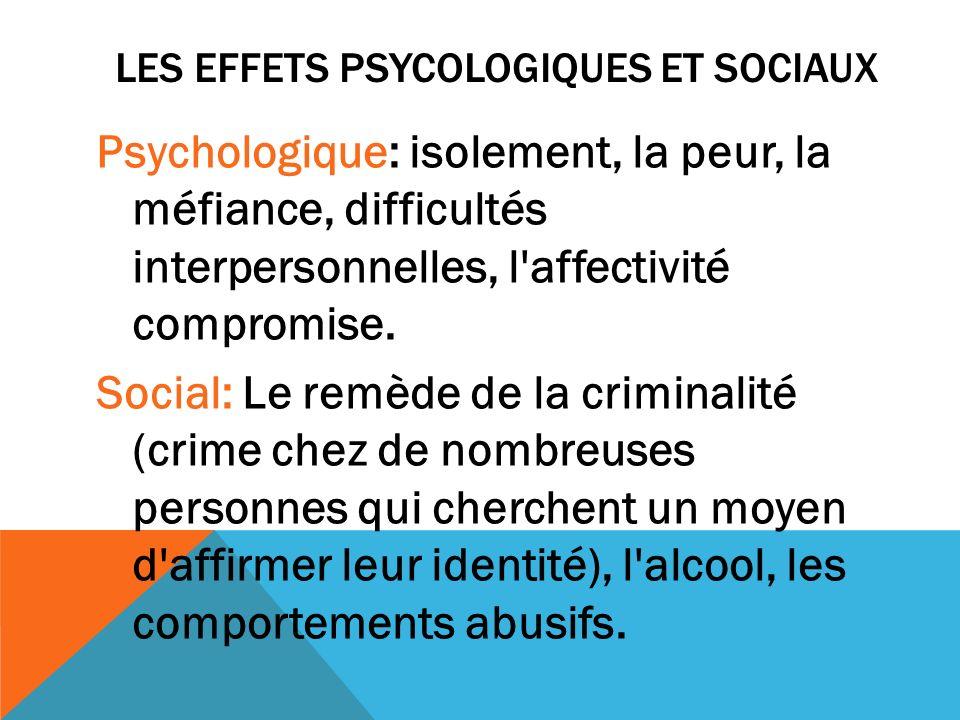 LES EFFETs PSYCOLOGIQUES ET SOCIAux