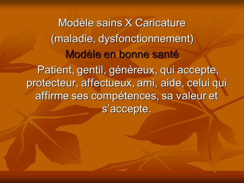 Modèle sains X Caricature (maladie, dysfonctionnement)