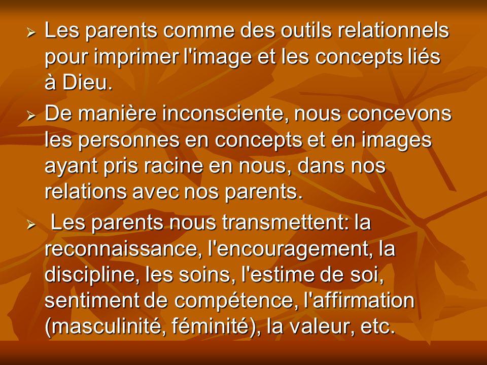 Les parents comme des outils relationnels pour imprimer l image et les concepts liés à Dieu.
