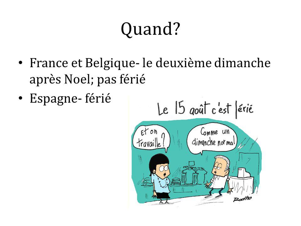 Quand France et Belgique- le deuxième dimanche après Noel; pas férié