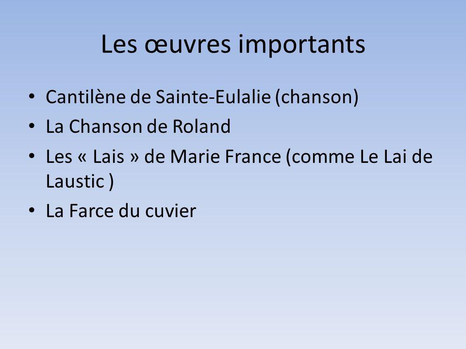 Les œuvres importants Cantilène de Sainte-Eulalie (chanson)