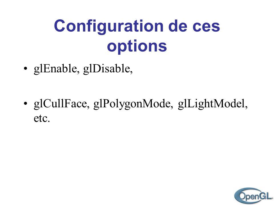 glEnable, glDisable, glCullFace, glPolygonMode, glLightModel, etc.