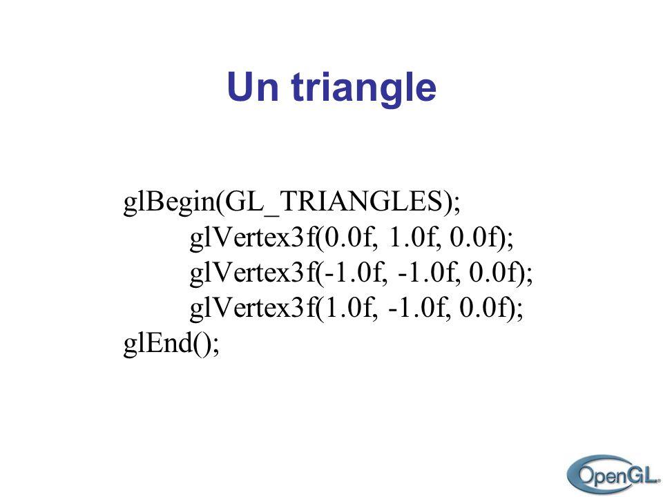 glBegin(GL_TRIANGLES); glVertex3f(0.0f, 1.0f, 0.0f); glVertex3f(-1.0f, -1.0f, 0.0f); glVertex3f(1.0f, -1.0f, 0.0f); glEnd();