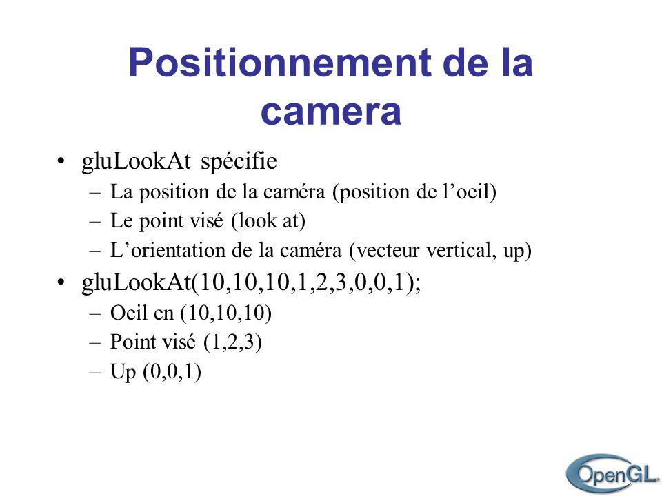 gluLookAt spécifie gluLookAt(10,10,10,1,2,3,0,0,1);