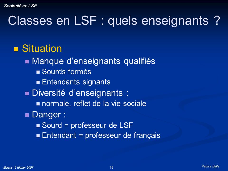 Classes en LSF : quels enseignants