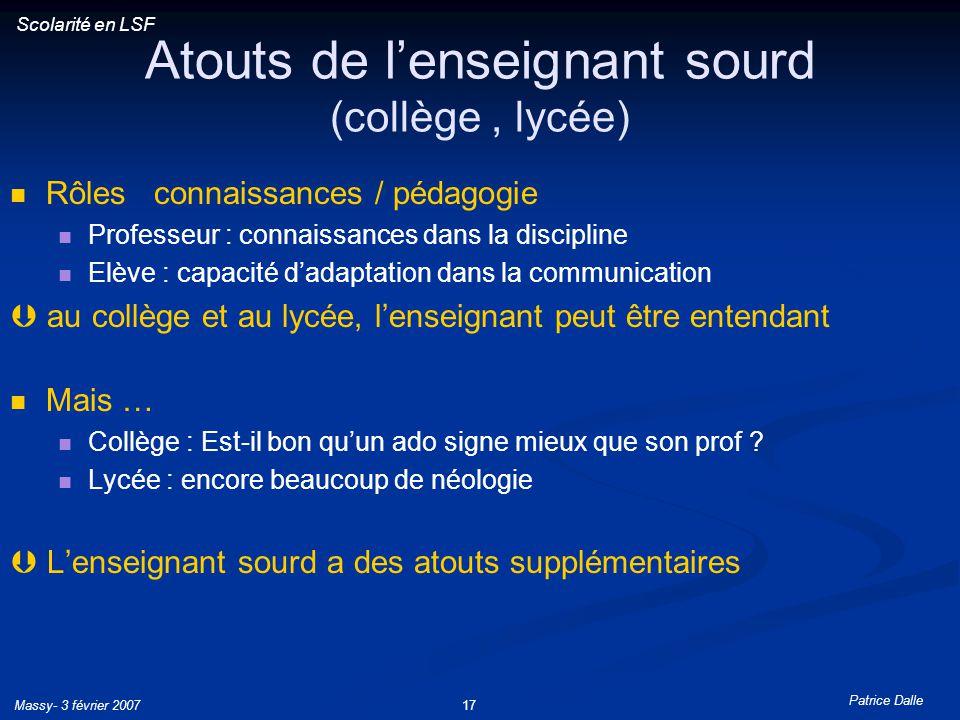 Atouts de l'enseignant sourd (collège , lycée)