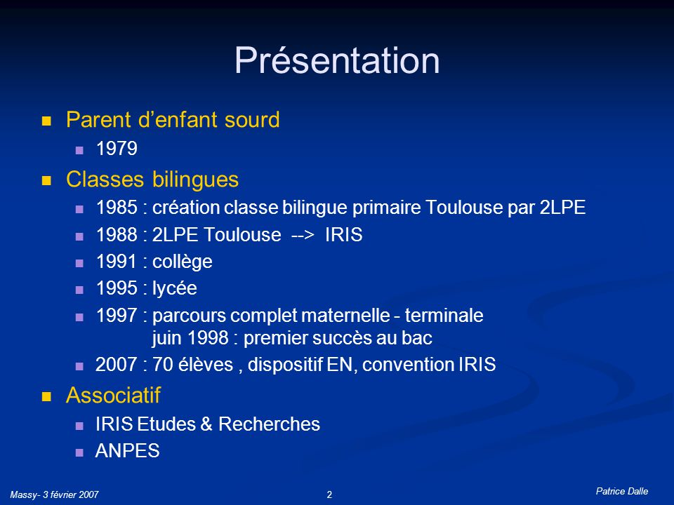 Présentation Parent d'enfant sourd Classes bilingues Associatif 1979