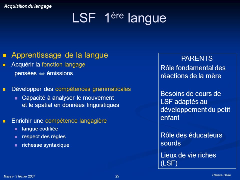 LSF 1ère langue Apprentissage de la langue PARENTS