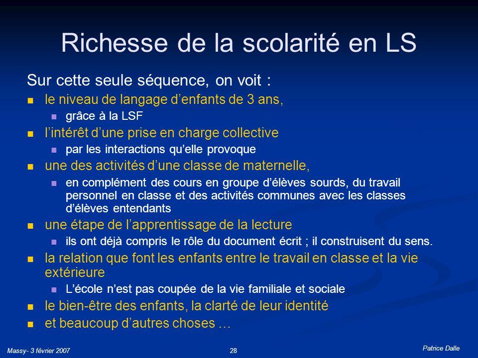 Richesse de la scolarité en LS