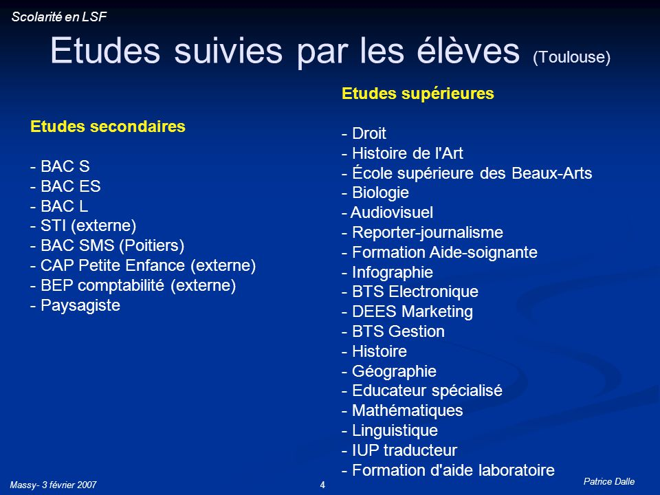 Etudes suivies par les élèves (Toulouse)