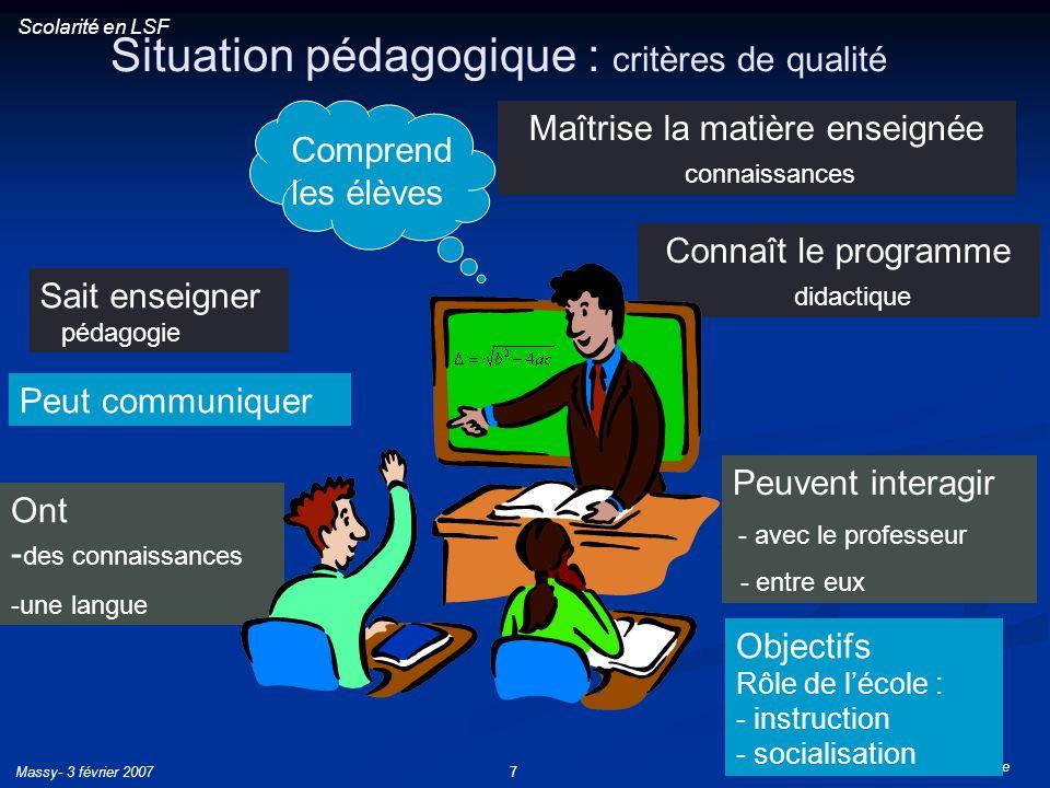 Situation pédagogique : critères de qualité
