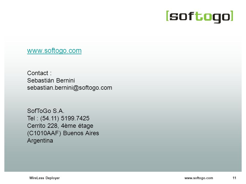 www.softogo.com Contact : Sebastián Bernini