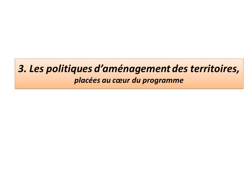 3. Les politiques d'aménagement des territoires, placées au cœur du programme