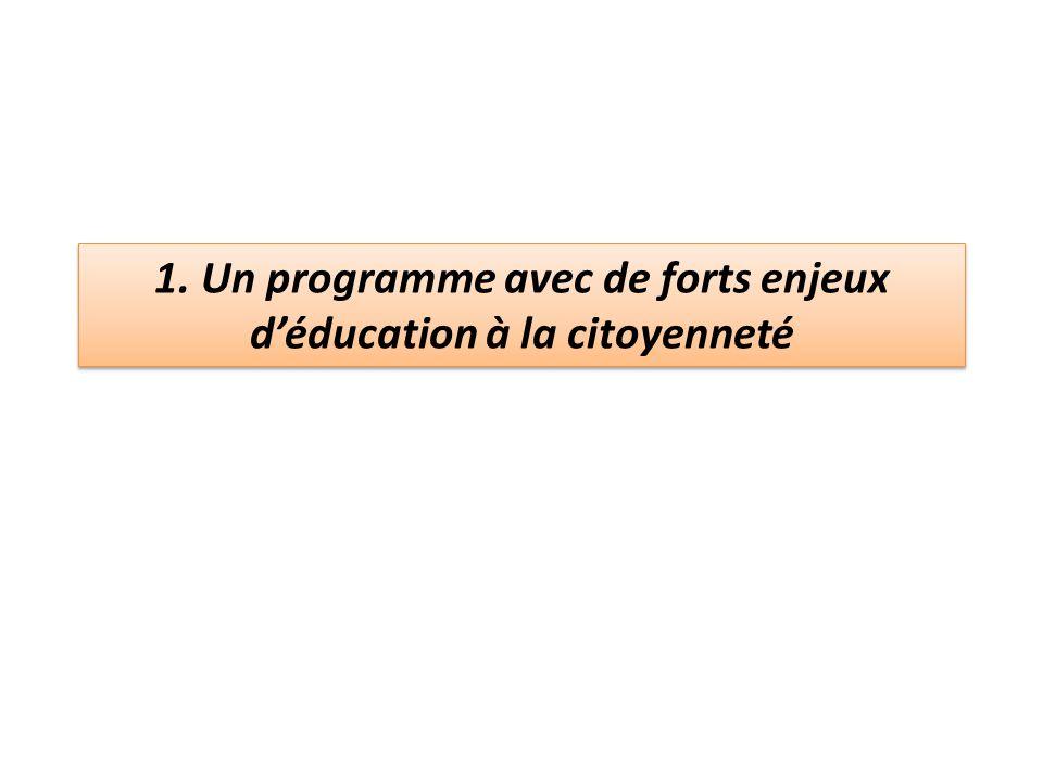 1. Un programme avec de forts enjeux d'éducation à la citoyenneté
