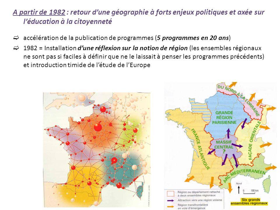 A partir de 1982 : retour d'une géographie à forts enjeux politiques et axée sur l'éducation à la citoyenneté