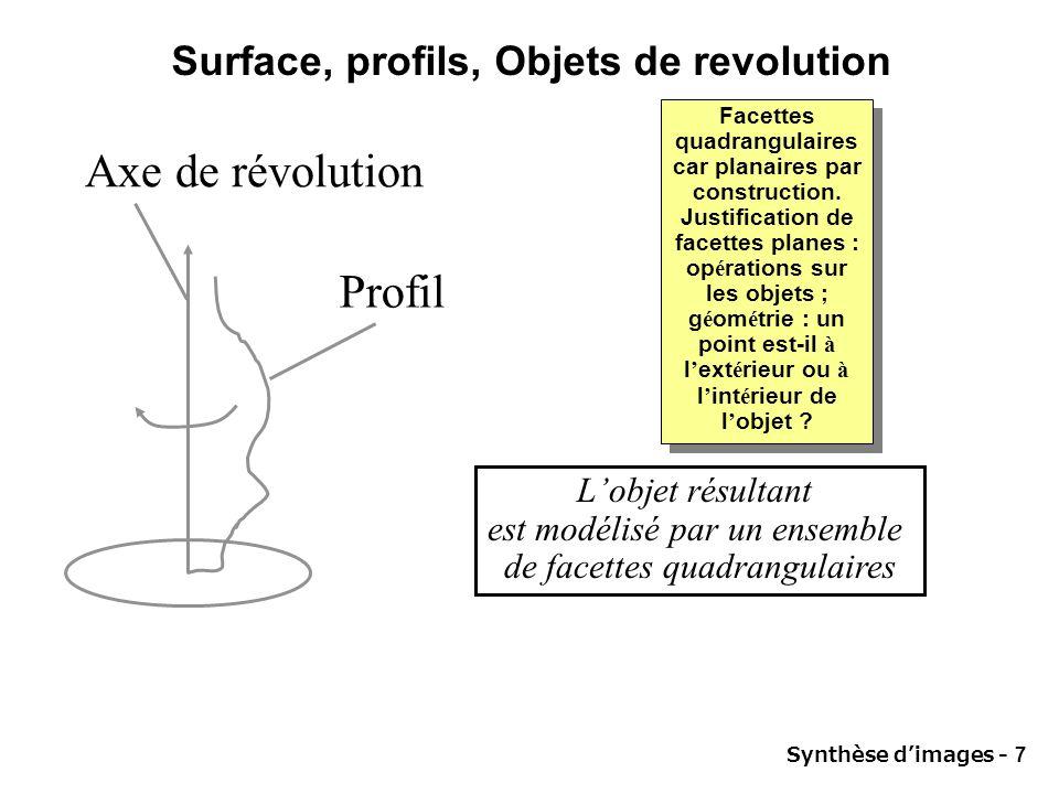 Surface, profils, Objets de revolution