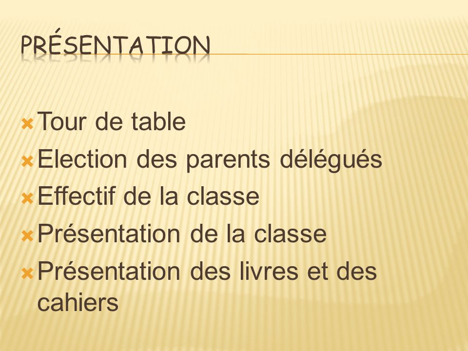 Election des parents délégués Effectif de la classe