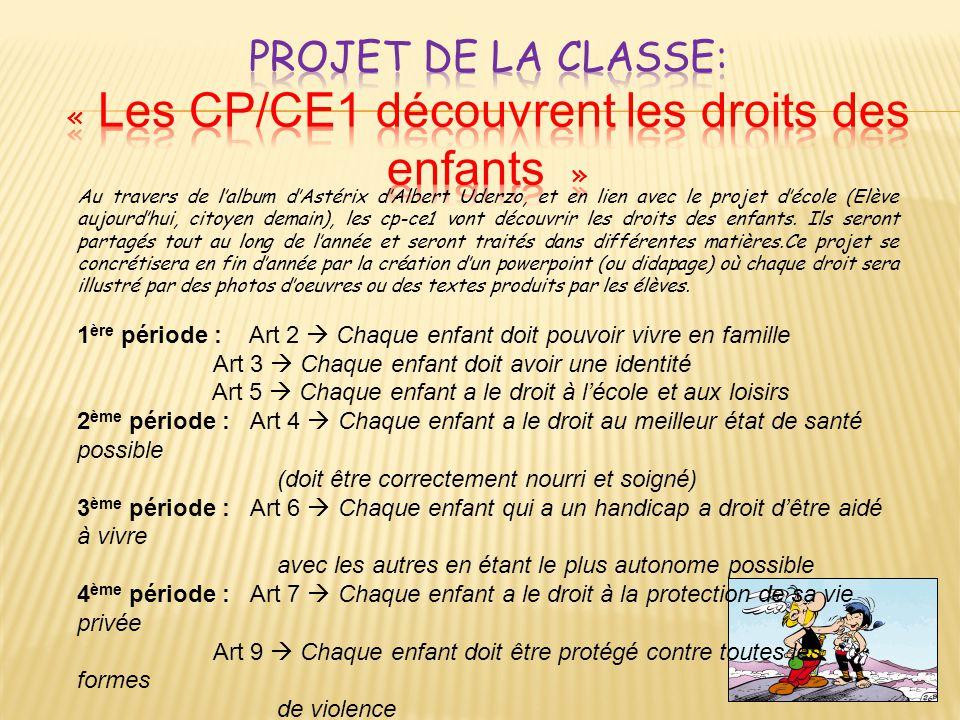 Projet de la classe: « Les CP/CE1 découvrent les droits des enfants »
