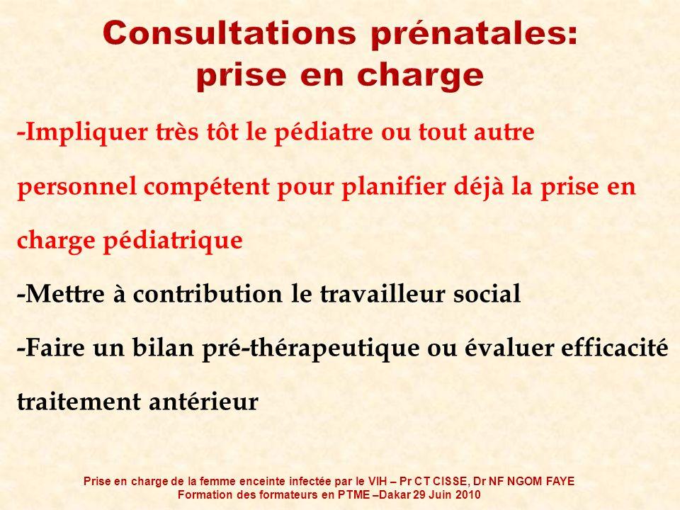 Consultations prénatales: prise en charge
