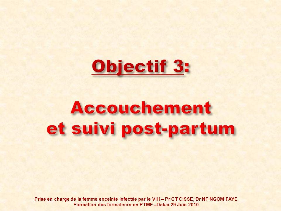 Objectif 3: Accouchement et suivi post-partum