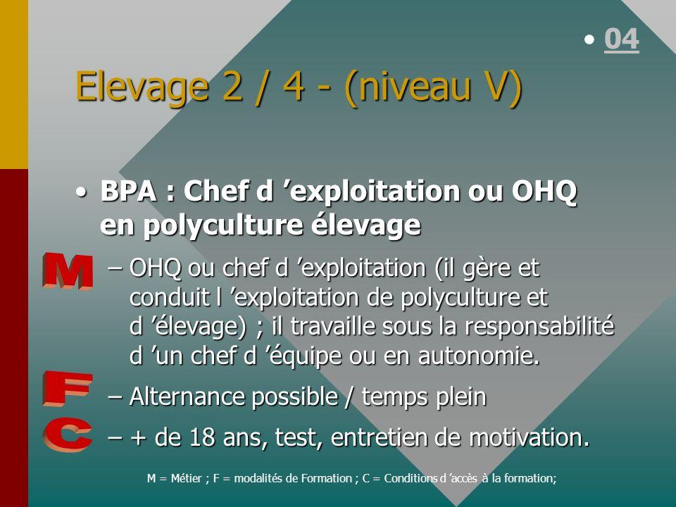Elevage 2 / 4 - (niveau V) M F C 04