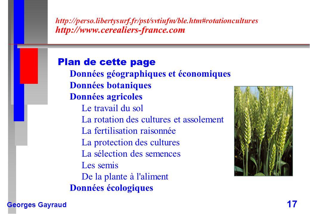 Données géographiques et économiques Données botaniques